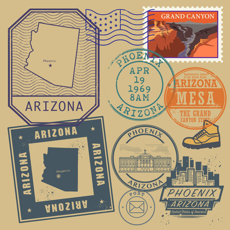 grand canyon: Stamp set with the name and map of Arizona, United States, vector illustration