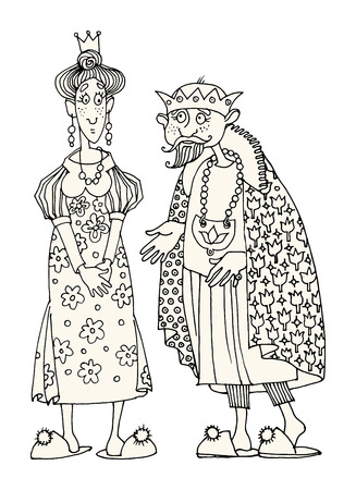 King and Queen. Hand drawn illustration Ilustração