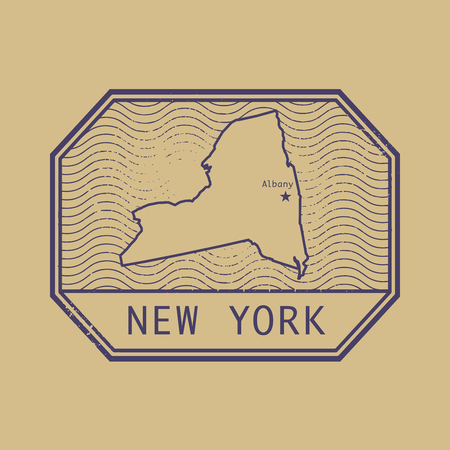 albany: Stamp with the name and map of New York, United States, vector illustration Illustration