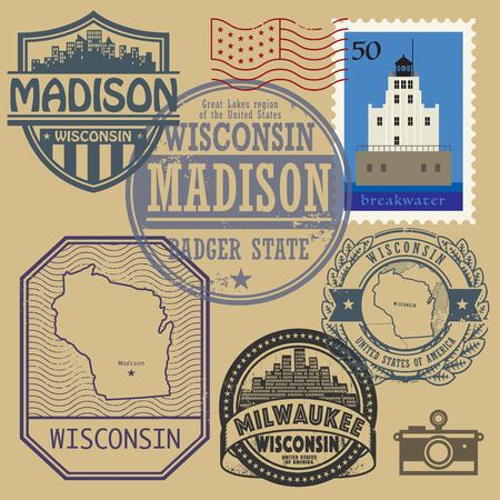 state of wisconsin: Stamp set with the name and map of Wisconsin, United States, vector illustration Illustration