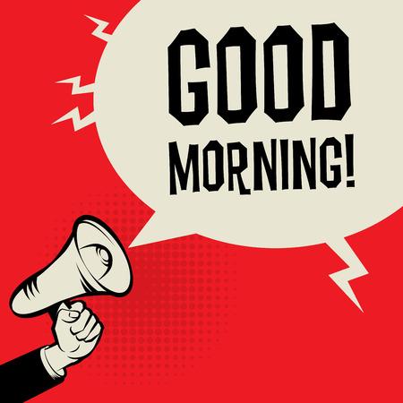 Megáfono de mano, concepto de negocio con el texto de la buena mañana, ilustración vectorial Foto de archivo - 52547709