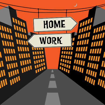 opposite arrows: Road sign with opposite arrows and text Home - Work, vector illustration