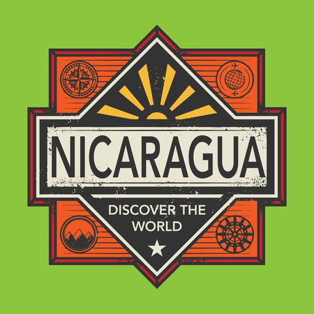 discover: Stamp or vintage emblem with text Nicaragua, Discover the World, vector illustration Illustration