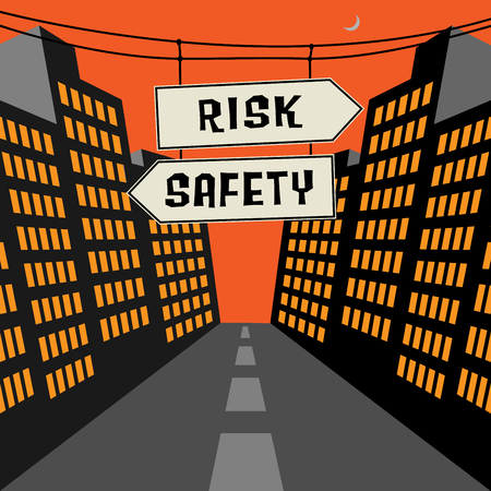 unsafe: Road sign with opposite arrows and text Risk - Safety, vector illustration Illustration