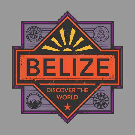 discover: Stamp or vintage emblem with text Belize, Discover the World, vector illustration Illustration