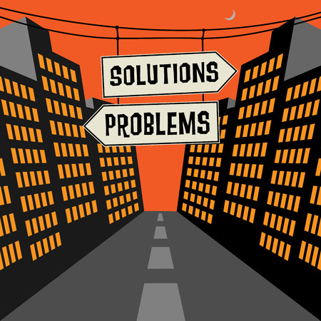 opposite arrows: Road sign with opposite arrows and text Solutions - Problems, vector illustration