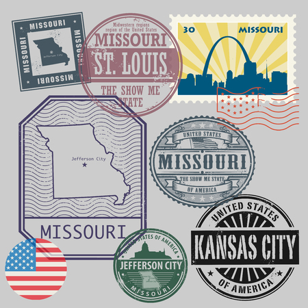 jefferson: Stamp set with the name and map of Missouri, United States, vector illustration Illustration