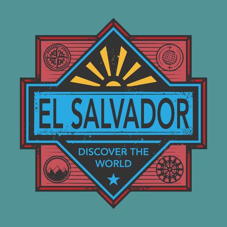 discover: Stamp or vintage emblem with text El Salvador, Discover the World, vector illustration