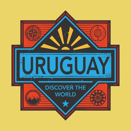 Stempel oder Vintage-Emblem mit Text Uruguay, Entdecken Sie die Welt, Vektor-Illustration