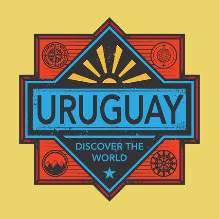 Stamp or vintage emblem with text Uruguay, Discover the World, vector illustration Illustration