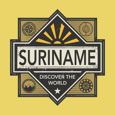 suriname: Stamp or vintage emblem with text Suriname, Discover the World, vector illustration