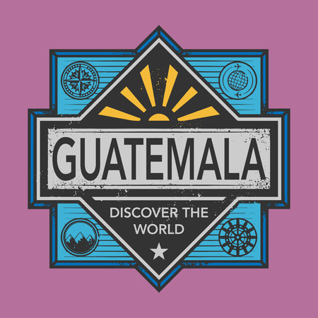 postal: Stamp or vintage emblem with text Guatemala, Discover the World, vector illustration