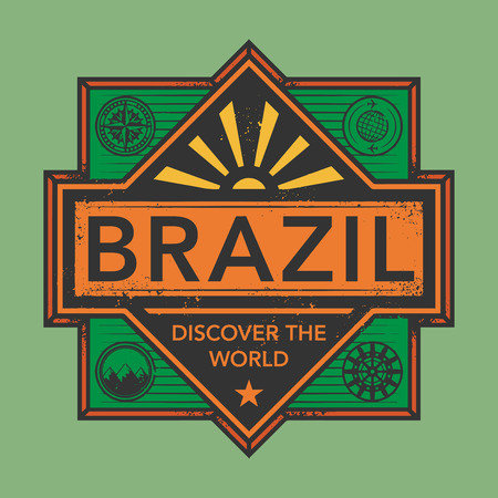 discover: Stamp or vintage emblem with text Brazil, Discover the World, vector illustration