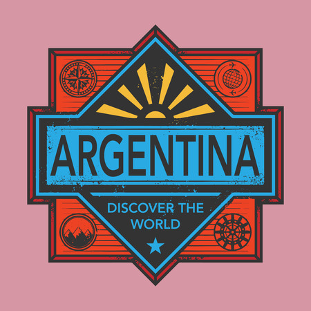 discover: Stamp or vintage emblem with text Argentina, Discover the World, vector illustration
