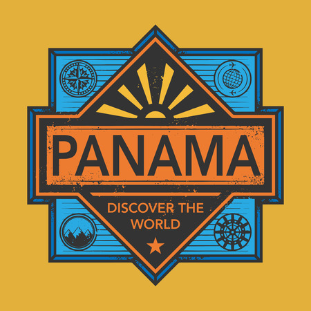 discover: Stamp or vintage emblem with text Panama, Discover the World, vector illustration