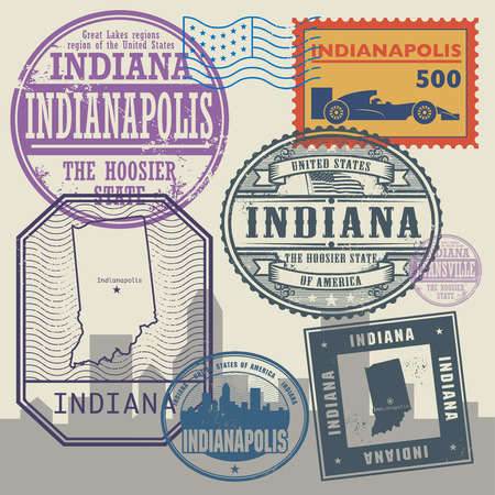 indianapolis: Stamp set with the name and map of Indiana, United States, vector illustration