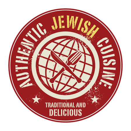 jewish cuisine: Abstract stamp or label with the text Authentic Jewish Cuisine written inside, vector illustration Illustration