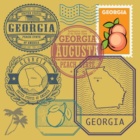 atlanta tourism: Stamp set with the name and map of Georgia, United States, vector illustration