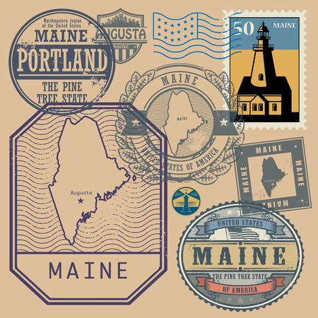 timbre voyage: jeu de timbres avec le nom et la carte du Maine, États-Unis, illustration vectorielle