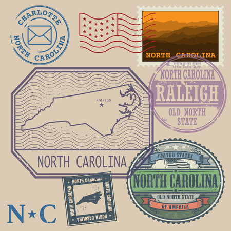 carolina: Stamp set with the name and map of North Carolina, United States, vector illustration