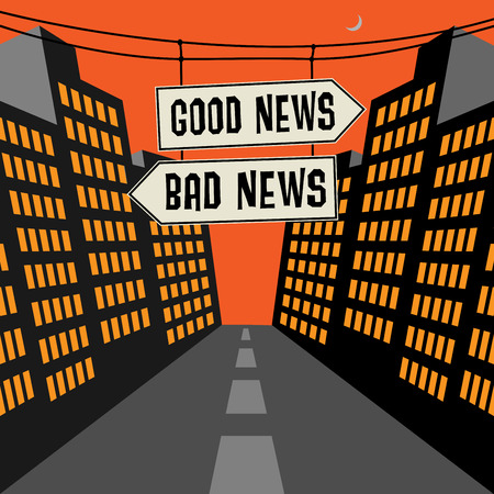 bad news: Road sign with opposite arrows and text Good News - Bad News, vector illustration Illustration