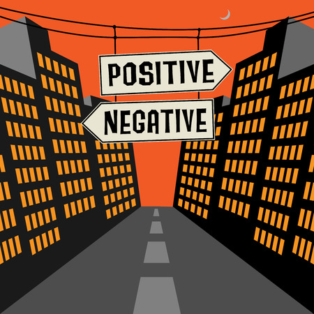 positive and negative: Road sign with opposite arrows and text Positive - Negative, vector illustration