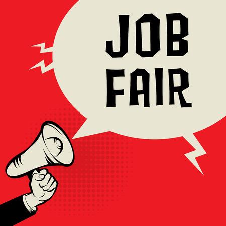 seeking assistance: Megaphone Hand, business concept with text Job Fair, vector illustration Illustration