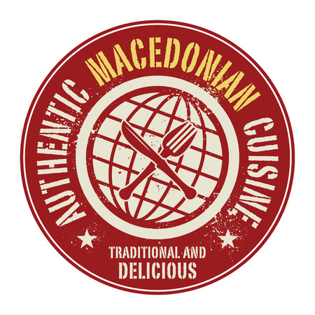 macedonian: Abstract stamp or label with the text Authentic Macedonian Cuisine written inside, vector illustration