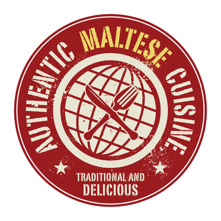 maltese: Abstract stamp or label with the text Authentic Maltese Cuisine written inside, vector illustration