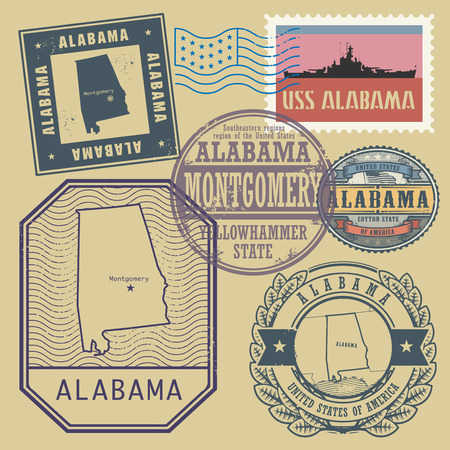 identifier: Stamp set with the name and map of Alabama, United States, vector illustration