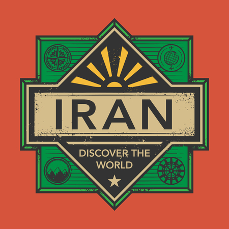 discover: Stamp or vintage emblem with text Iran, Discover the World, vector illustration