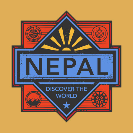 discover: Stamp or vintage emblem with text Nepal, Discover the World, vector illustration
