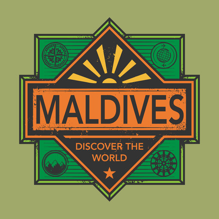 discover: Stamp or vintage emblem with text Maldives, Discover the World, vector illustration