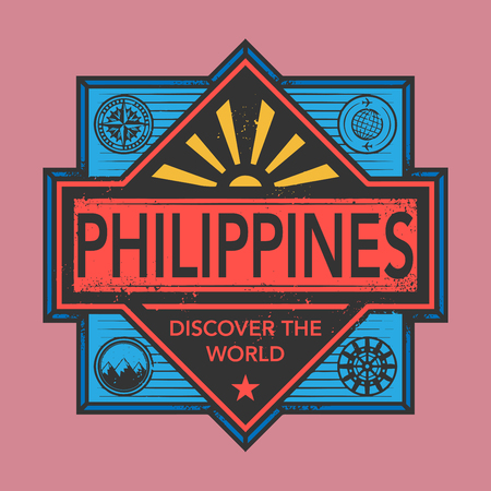 discover: Stamp or vintage emblem with text Philippines, Discover the World, vector illustration Illustration