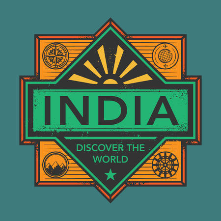 sticker: Stamp or vintage emblem with text India, Discover the World, vector illustration
