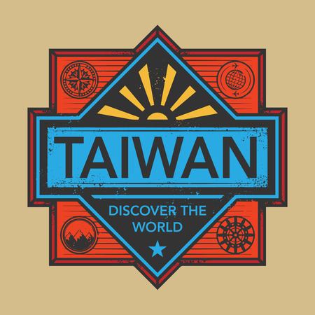 taiwanese: Stamp or vintage emblem with text Taiwan, Discover the World, vector illustration Illustration