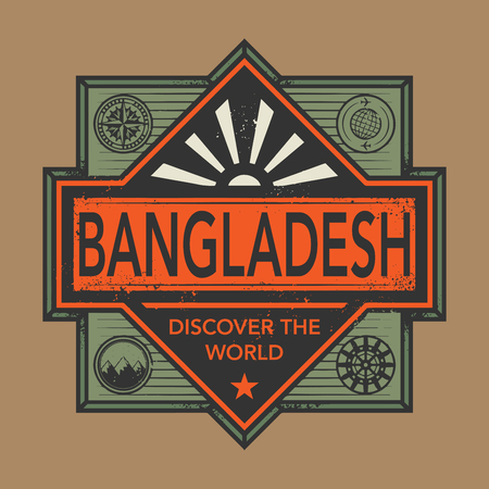discover: Stamp or vintage emblem with text Bangladesh, Discover the World, vector illustration