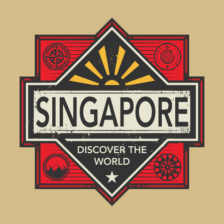 discover: Stamp or vintage emblem with text Singapore, Discover the World, vector illustration Illustration