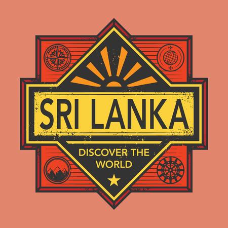 discover: Stamp or vintage emblem with text Sri Lanka, Discover the World, vector illustration Illustration