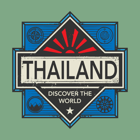 discover: Stamp or vintage emblem with text Thailand, Discover the World, vector illustration