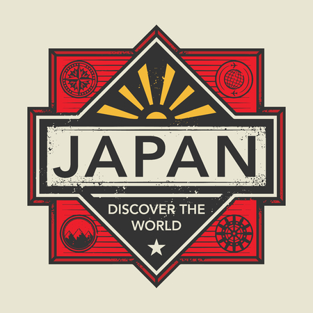 discover: Stamp or vintage emblem with text Japan, Discover the World, vector illustration