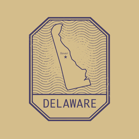 dover: Stamp with the name and map of Delaware, United States, vector illustration