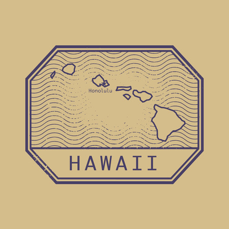 Stamp with the name and map of Hawaii, United States, vector illustration