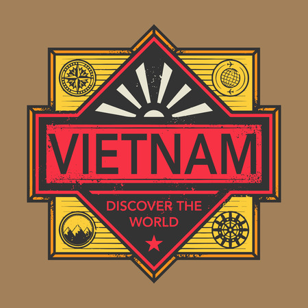 discover: Stamp or vintage emblem with text Vietnam, Discover the World, vector illustration