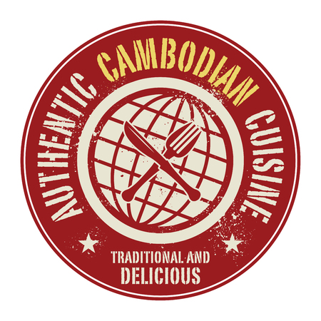 cambodian: Abstract stamp or label with the text Authentic Cambodian Cuisine written inside, vector illustration