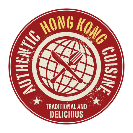 hong kong street: Abstract stamp or label with the text Authentic Hong Kong Cuisine written inside, vector illustration