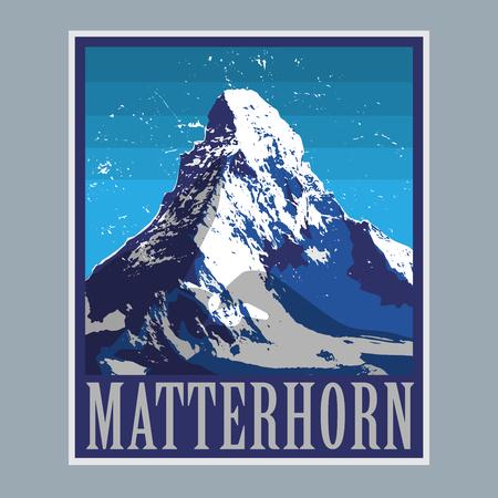 Mont Cervin (Monte Cervino) - sommet des Alpes, l'aventure de montagne fond, illustration vectorielle