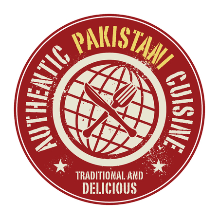 pakistani: Abstract stamp or label with the text Authentic Pakistani Cuisine written inside, vector illustration