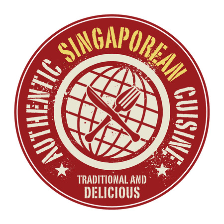 singaporean: Abstract stamp or label with the text Authentic Singaporean Cuisine written inside, vector illustration