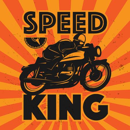 x games: Vintage Motorcycle sport label, vector illustration
